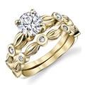 EDI Solitario Oro Amarillo Diamante Anillo de Ajuste Del Diente 4 CT Moissanite Laboratorio Crecido Anillo de Bodas de Compromiso de Diamantes Redondos Para Las Mujeres