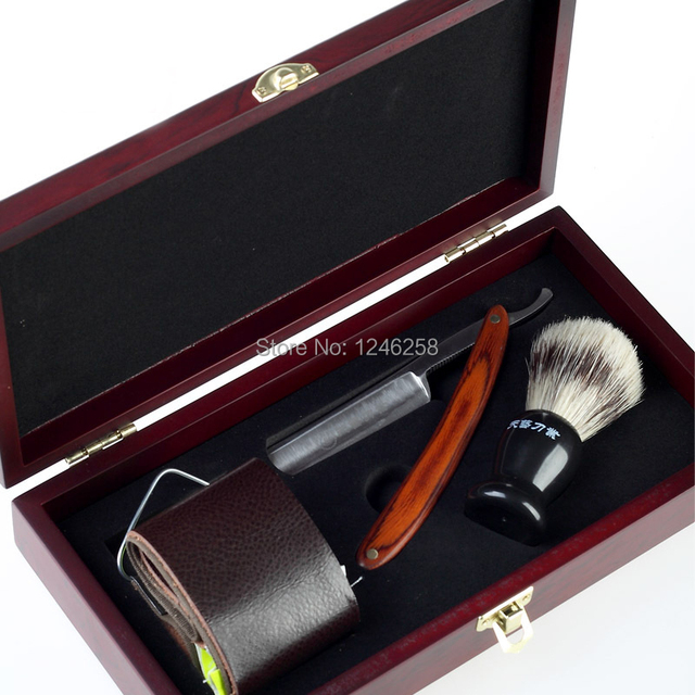 Shaving Set with Safety Razor Leather Strop Shave Brush with Bristle Hair