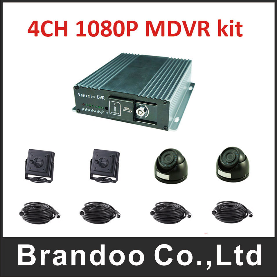 Cost-effective! 4CH 1080P car DVR kit for bus taxi truck shcool bus use,FULL HD 4channel digital video recorder.