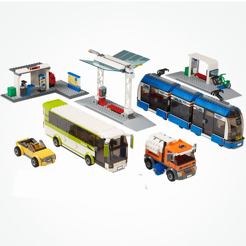 City Public Transport Station tram bus sweeper 8 Figures Building Blocks toy kid Gift fit City