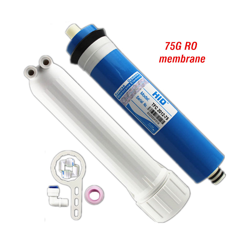 75G RO Membrane With Membrane Shell Water Filter Housing Free Quick Connector& RO Wrench For Reverse Osmosis Water Purifier water filter 75g ro membrane and membrane housing with connector and wrench for reverse osmosis water purifier