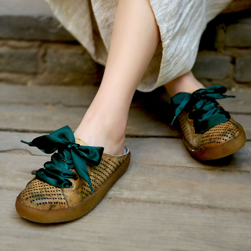 Tyawkiho Genuine Leather Women Mules Casual Leather Shoes Summer Hollow Out Slippers Handmade Women Leather Lace Up Slipper 2018 tyawkiho genuine leather women sandals low heel white casual leather summer shoes 2018 handmade women leather sandal soft bottom