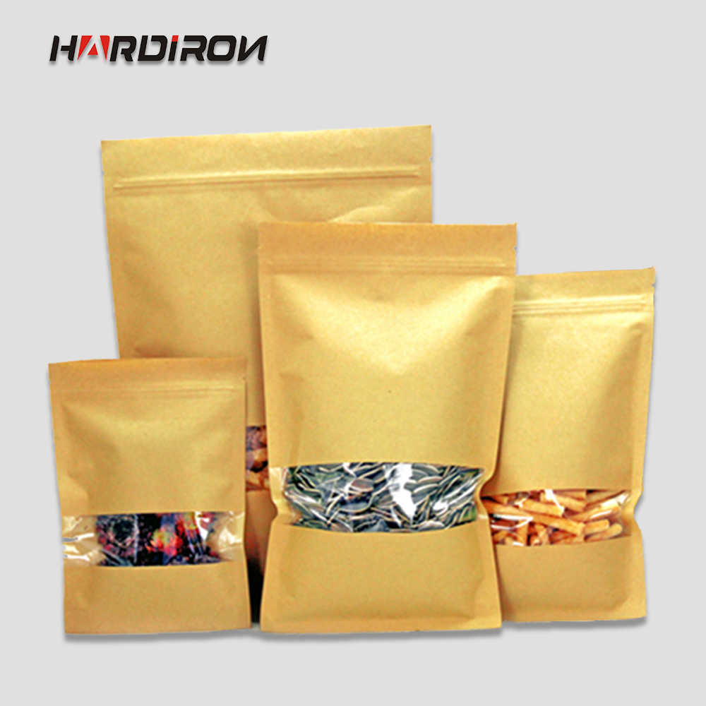 Kraft Paper Bags with Square Window kraft paper Recloseable Flat Bottom Pouches Dry Food Tea Snacks Storage Package Bags
