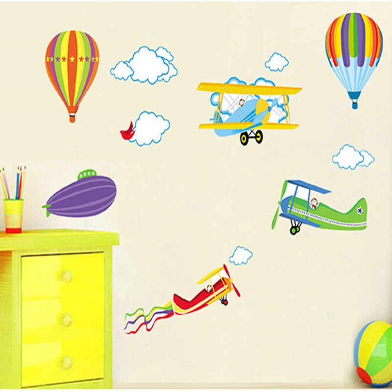 Us 4 1 20 Off 1pcs Cartoon Wall Stickers For Kids Rooms Decoration Airplane Hot Air Balloons Home Decor Poster Wallpaper Children Stiker In