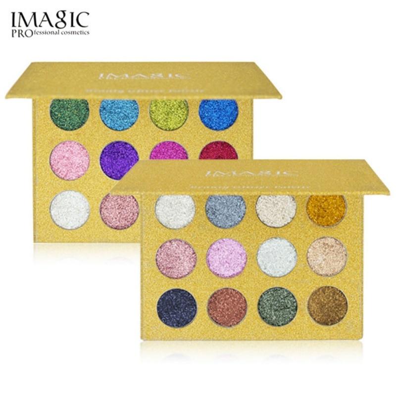 12 Cores Glitters Glitters Sombra Diamante Íris Compõem Cosméticos Pressionado sombra de Olho Paleta Ímã