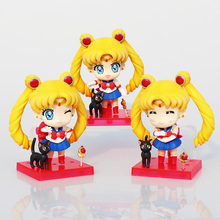 3Pcs/Set Sailor Moon Figures Tsukino Usagi Action Figure Toys Q Version PVC Collectible Model Dolls Toy 9cm Approx Great Gift