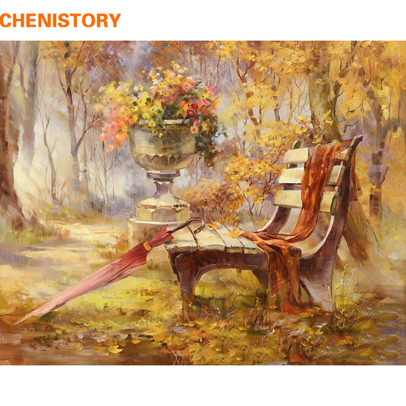 CHENISTORY Autumn Garden DIY Painting By Numbers Kit Handpainted Oil Painting Acrylic Paint On Canvas Home Decor Wall Decoration
