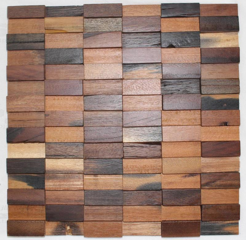 3D strip rectangle natural rustic wood wall tile wooden mosaic tiles ...