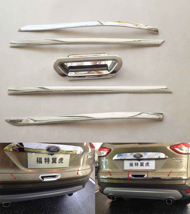 Chrome Rear Door Handle Bowl Covers Decoration Ring Trim For Ford Escape Kuga 2013 2014 Car