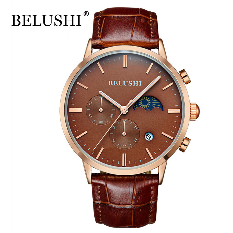 BELUSHI Watch Men Business Sport Quartz Wrist Watch Men Top Brand Luxury Leather Waterproof Clock Male relogio masculino hodinky аксессуар gembird usb 2 0 am mini 5p 0 9m cc usb2 am5p 3