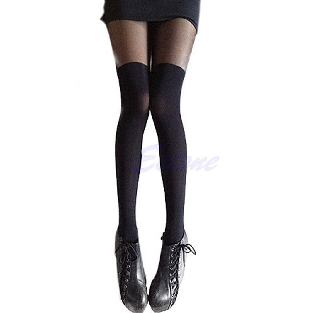 Free Shipping Women Sexy Black Stylish Tinted Sheer False High Stocking Pantyhose Slim Tights