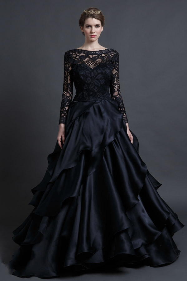 Elegant Black Lace Wedding Dress See Through Long Sleeve Wedding ...