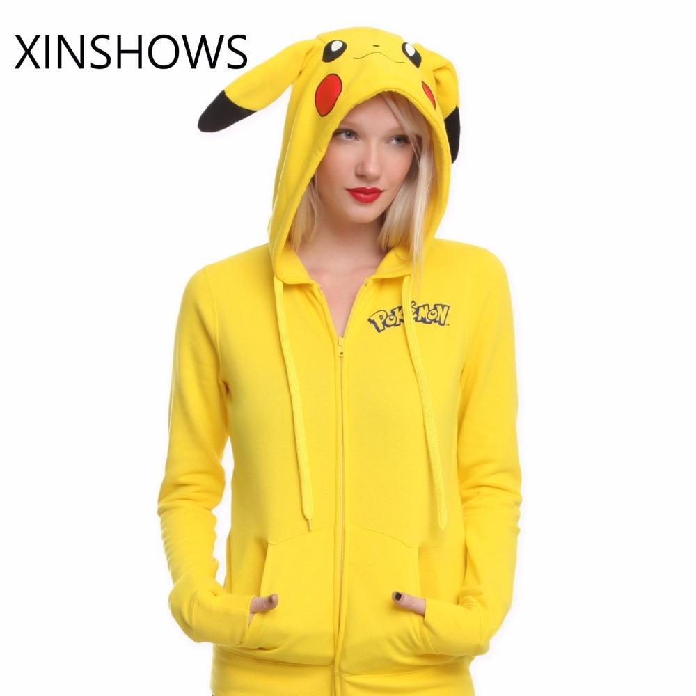2016 Hoodies Pokemon Sudaderas Mujer Neue Pokemon Gesicht Pikachu Totoro Druck Kostüm Schwanz Zip Hoodie Sweatshirt Kostenloser Versand