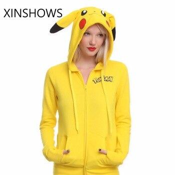 af5e132ca311 2016 Sudaderas con capucha Pokemon Sudaderas Mujer nueva Pokemon cara  Pikachu Totoro impresión disfraz cola Zip Sudadera con capucha envío gratis