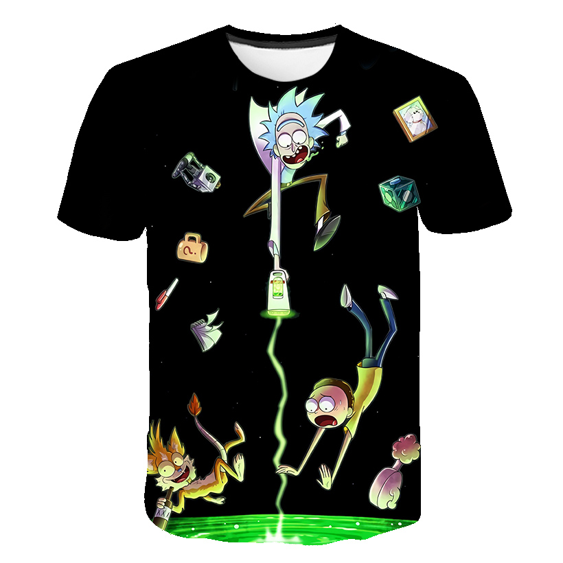BZPOVB Brand Rick And Morty T Shirt Men Anime Tshirt Chinese 3d Printed T-shirt Hip Hop Tee Cool Mens Clothing New Summer Top
