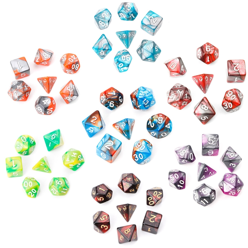 7pcs/Set Acrylic Polyhedral Dice For TRPG Board Game Dungeons And Dragons