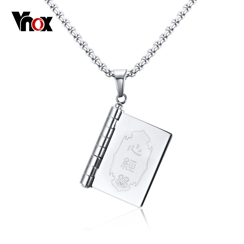 Vnox Novel Book Necklace Pendant Openable Stainless Steel Prayer Jewelry Chinese Style youcat youth prayer book