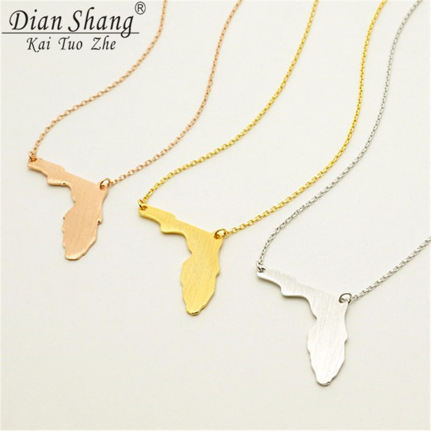 DIANSHANGKAITUOZHE Mens Necklace 2017 Women Silver Color Fashion Stainless Steel Vintage Jewelry Geometric Florida Map Pendant