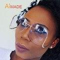 Aimade Grande Sin Montura Gradiente Gafas De Sol Clásicas Para Las Mujeres Marco de Metal de Lujo Únicos de La Vendimia de Gran Tamaño Gafas de Sol UV400 oculos
