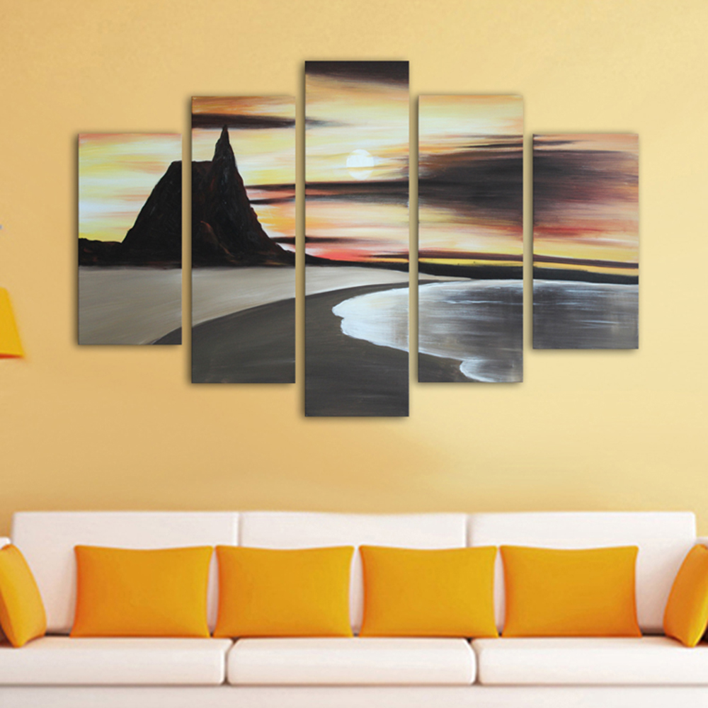 Hand Painted 5 Piece Canvas Art Landscape Sea Beach Sunset Oil ...