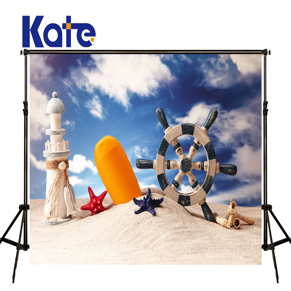 KATE 5x7ft Children Beach Scenery Photo Rudder Starfish Decoration Background Blue Sky White Clouds Baby Born Backdrop for Kids kate photo backdrop beach baby
