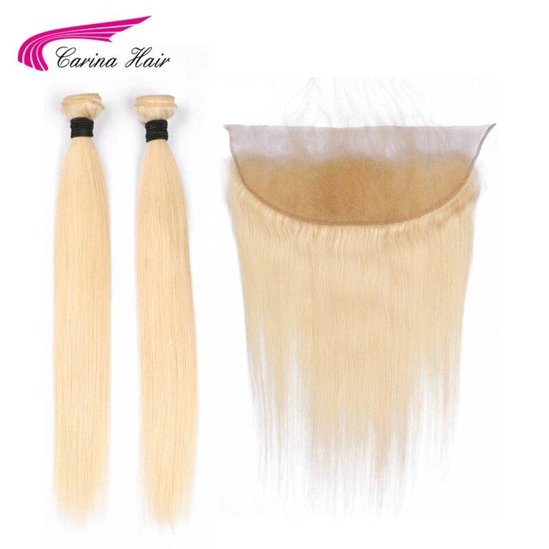 Carina чистый блонд цвет перуанские прямые волосы пучки с фронтальной 613 цвет Remy человеческие волосы 2 пучка с 13*4 кружевной фронтальной