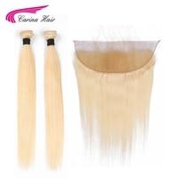 Carina чистый блонд цвет перуанские прямые пучки волос с фронтальной 613 цвет Remy человеческие волосы 2 пучка с 13*4 синтетический фронтальный