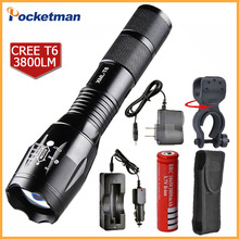 100% Authentic E17 3800 Lumens 5-Mode XM-L T6 LED Flashlight Zoomable rechargeable Focus Torch by 1*18650 or 3*AAA
