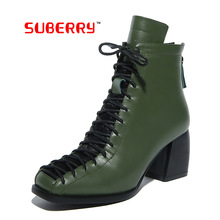 SUBERRY Genuine Leather British Style Lace up Boots 2016 Plus Size Vintage motorcycle Ankle Boots For Women Winter Autumn Boots