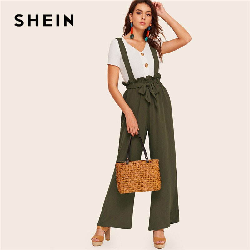 SHEIN Army Green Elegant Paperbag Waist   Wide     Leg     Pants   With Strap Spring Streetwear Casual Solid Loose High Waist Womens   Pants