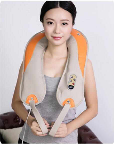 Factory direct sales massage shawl percussion timing cervical massager kneading shoulder neck waist massager beating mode rechargeable 4 mode neck shoulder massager w music pink
