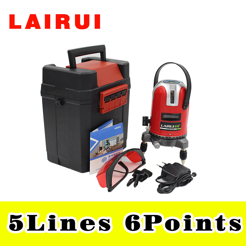 LAIRUI 5 lines 6 points laser level, 360 degree rotary cross laser line level,with outdoor mode and tilt model