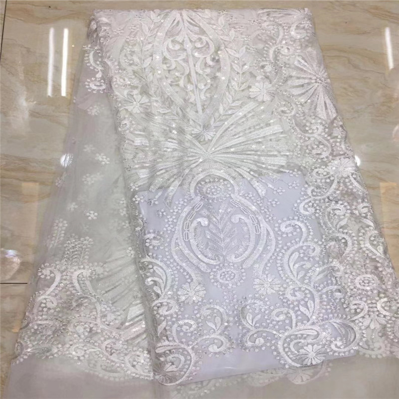 Hot Sale African Net Lace Fabrics With Sequins 5 Yards French Lace Fabric High Quality Nigerian Lace Fabric for Dress HX1407 2 in Lace from Home Garden