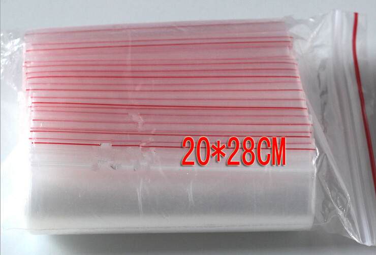 50PCS 20x28cm transparent travel gift packing bag plastic bag for necklace/jewelry/ food small ziplock clear self seal bags pe