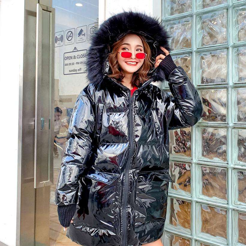 Winter women's jacket big fur collar hooded Glossy cotton coat female long sleeve thicken warm   parka   cotton-padded outwear L1736