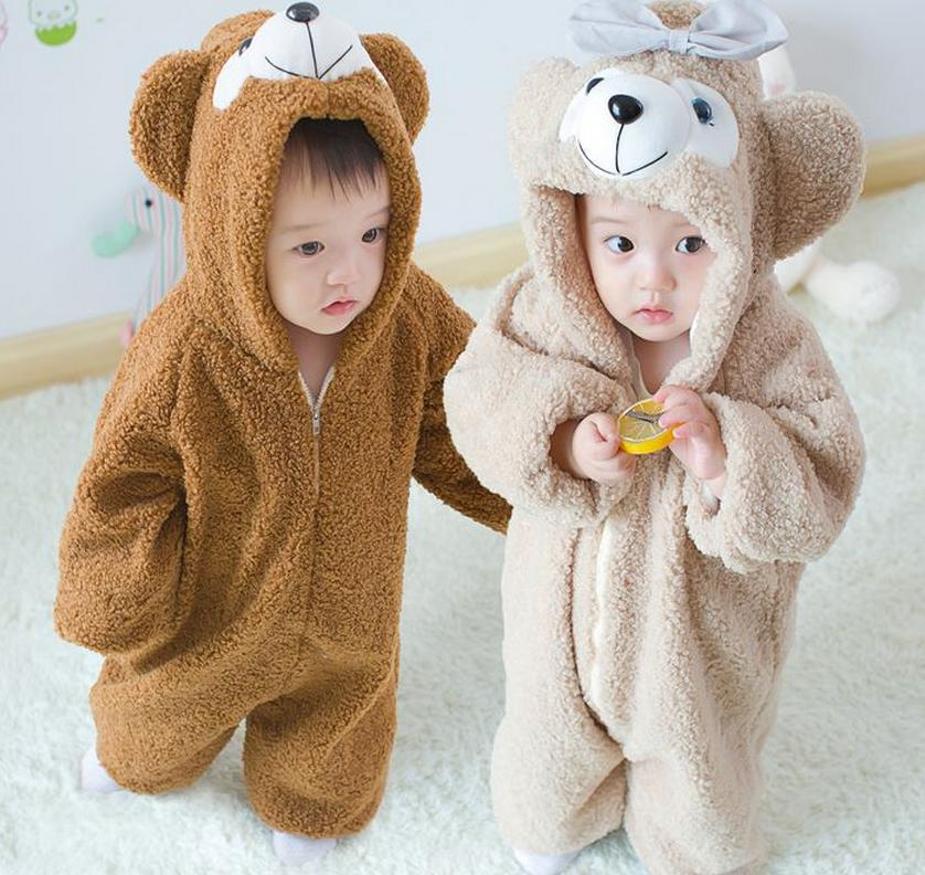 Bear Baby Hooded   Rompers   Costume Plush Shirley Conjoined Autumn Warm Climbing Clothes INS Newborn kids Outerwear Christmas Gift