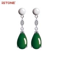 ISTONE 100 Natural Gemstone 925 Sterling Silver Jasper Drop Earrings Green Water Drop Shape Fine Jewelry