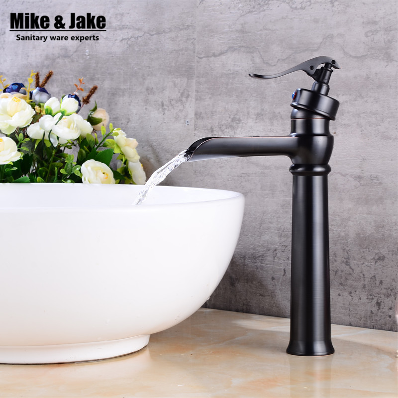Bathroom Black bronze high waterfall basin faucet black tall square faucets deck waterfall water tap basin stand tap FH3369 manitobah унты tall grain mukluk женск 11 black черный
