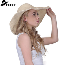 2360777c75e9b9 FGHGF Elegant Women Straw Hat Packable Wide Brim Sun Hat Ladies Shade Floppy  Kentucky Derby Hat