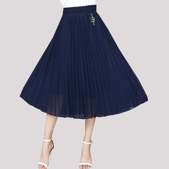 f8c52b821e 2019 New Summer Pleated Skirt Women High Waist Chiffon Skirt Long Loose  Padded Women's Knee Length Skirts Solid Dark Blue Black