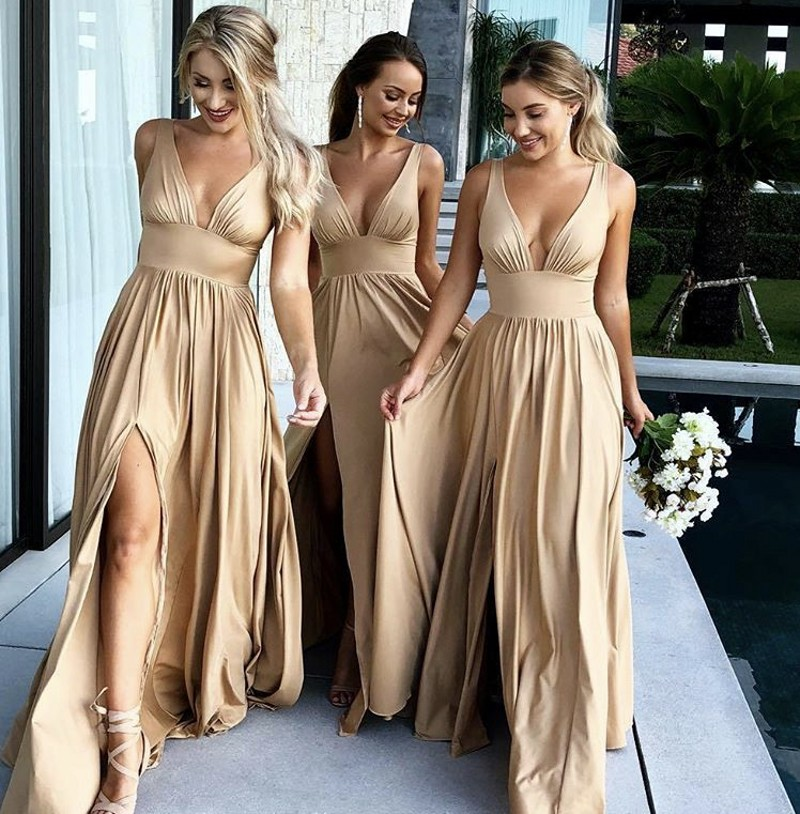 Hot V-Neck Sleeveless A-Line Elastic Satin Pleated Court Train Mermaid Bridesmaid Gowns Sexy Bridesmaid Dresses Fast Shipping