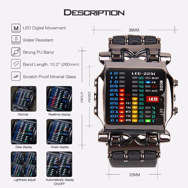 2018 new brand TVG Rubber Band waterproof cool geek LED Digital Sports Watches Black Men Luxury Fashion Binary Gift Clock Watch  2