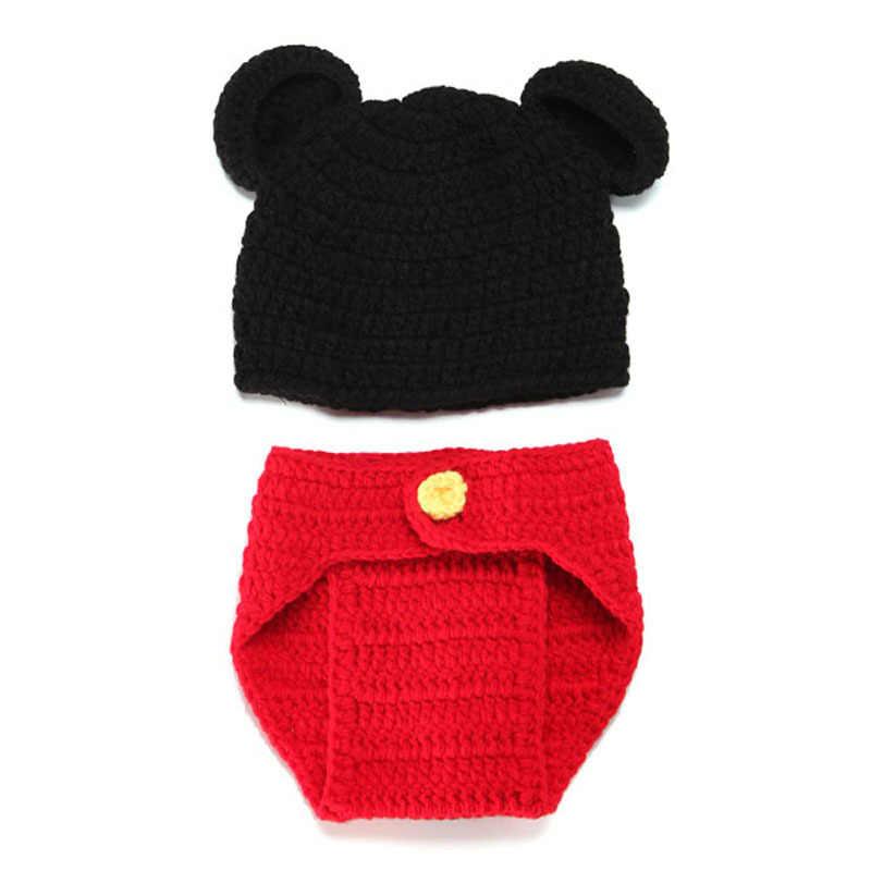 Шапка для малышей с Микки, набор трусиков, реквизит для фотосъемки новорожденных, ручная работа, вязаная шапочка с животными, костюм
