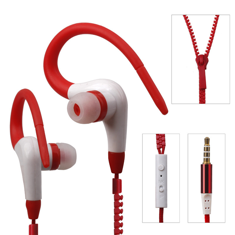 New Earhook Metal Zipper Earphones with Mic 3.5cm Sport Running Hook Earphone Super Bass For Mobile Phone MP3/4 Player qkz c6 sport earphone running earphones waterproof mobile headset with microphone stereo mp3 earhook w1 for mp3 smart phones