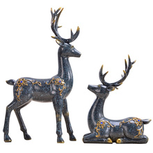 European Resin Deer Statue Crafts Animal Ornament Home Decoration Accessories Figurines Living Room Decor Wedding Gift