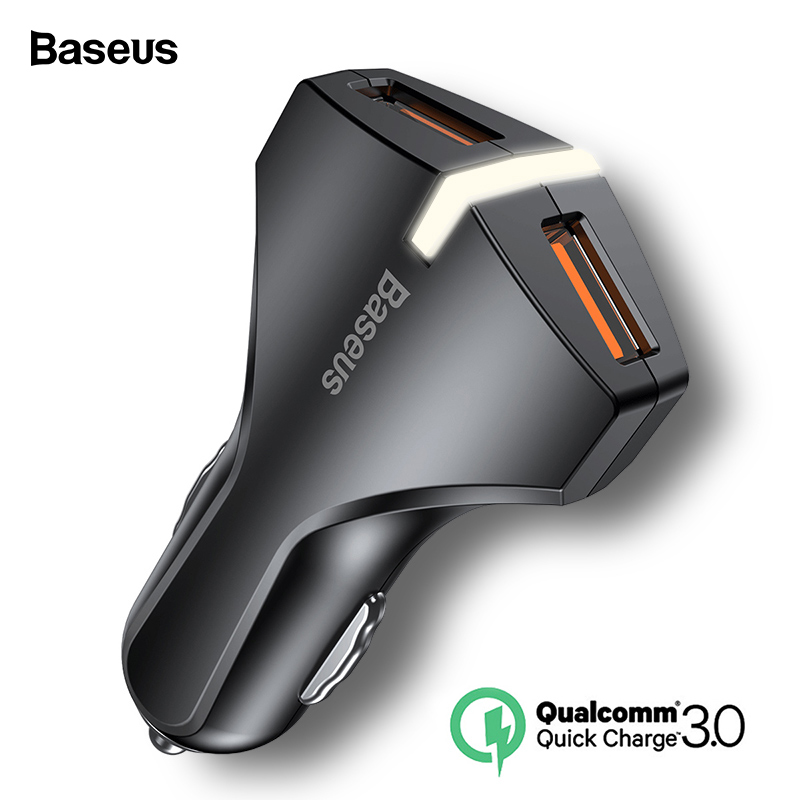 Baseus Quick Charger 3.0 Car USB Charger Dual QC3.0 USB Car Charging For iPhone Samsung Fast Car-Charger Mobile Phone Charger Зарядное устройство