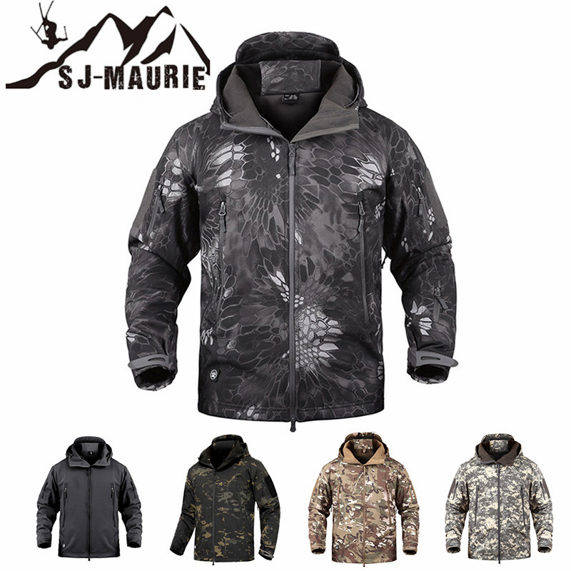 SJ MAURIE Outdoor Men Military Tactical Hunting Jacket Waterproof Fleece Hunting Clothes Fishing Hiking Jacket Winter