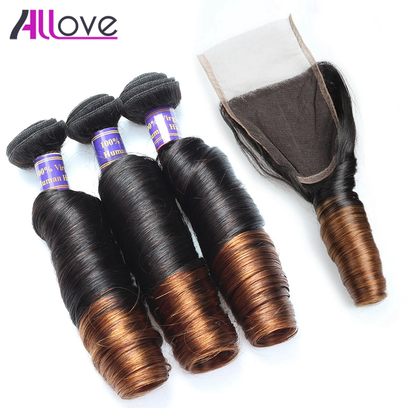Allove Ombre Brazilian Hair Bundles With Closure 1B/4 Ombre Spring Curly Human Hair Weave Remy Hair Free Part Ombre Lace Closure