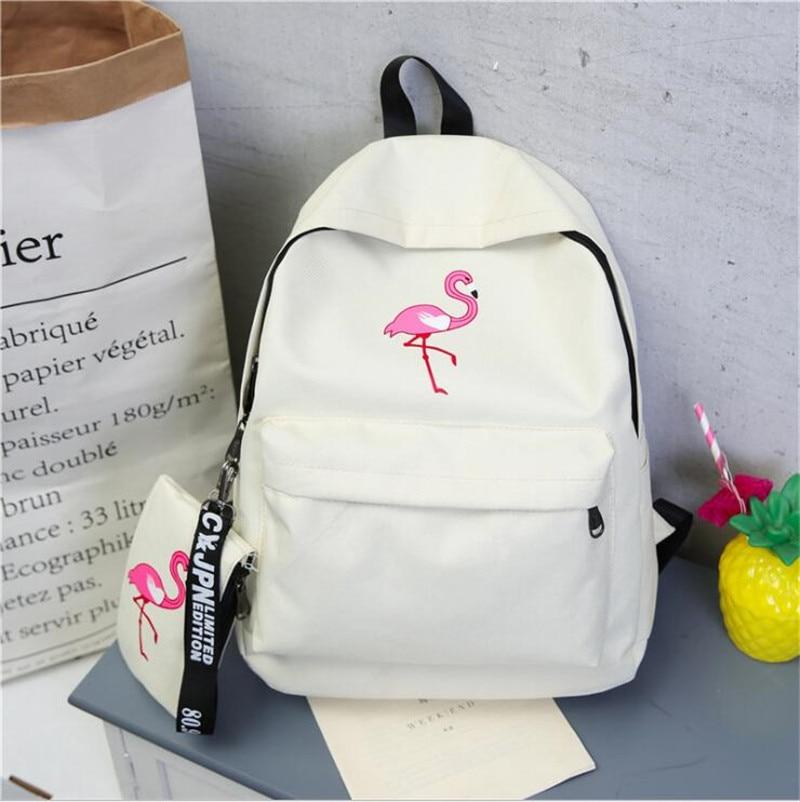 Meloke 2017 Flamingo Embroidery Backpack set Canvas Unisex Backpack College Students School Bag Travel Backpack MN902