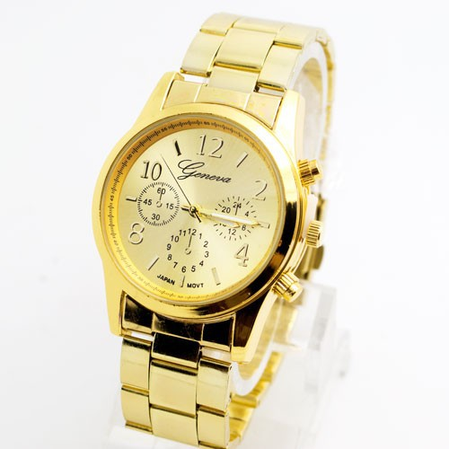 Hot Sales Geneva Brand Gold Plated Watch Women Men Fashion Dress Quartz Wristwatches 3 Colors G05